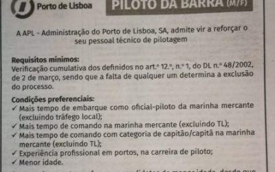 Recrutamento de Piloto de Barra – APL