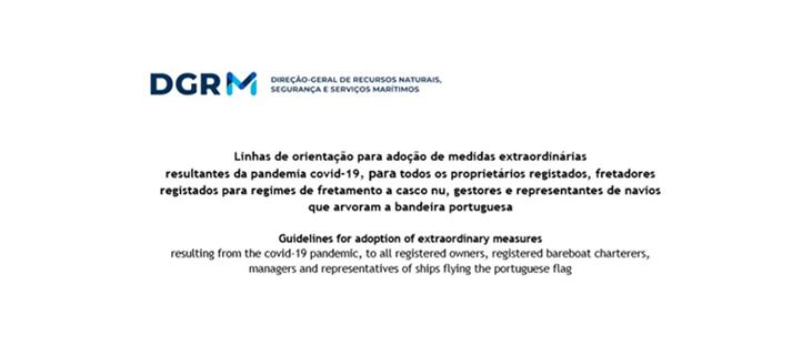 DGRM – Linhas de Orientação: Adoção de medidas extraordinárias COVID-19 / Guidelines – Adoption of extraordinary measures COVID-19